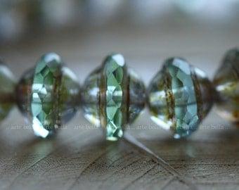 CHAMELEON BLISS .. 10 Premium Picasso Czech Glass Saturn Beads 8x10mm (4142-10)