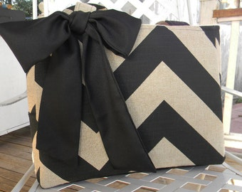 Black Chevron Tote, Diaper Bag, Every Day Bag with Sash Bow