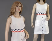 Vintage Dress 70s Mod White Ribbed Red Blue Rick Rack M