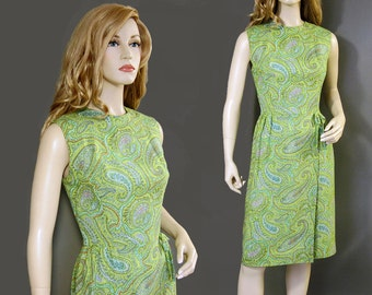 Vintage Dress 60s Mod Green Paisley Faux Wrap Skirt Sheath S