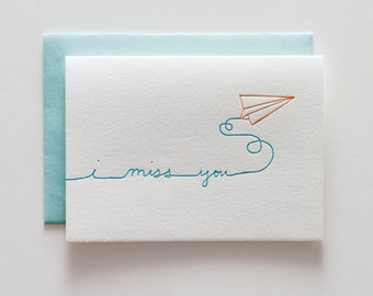 Paper Airplane Miss You - Letterpress Greeting Card - CE130