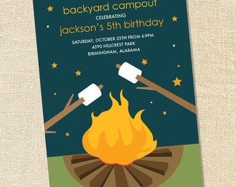 Sweet Wishes Backyard Campout Marshmallow Roast Invitations - PRINTED - Digital File Also Available