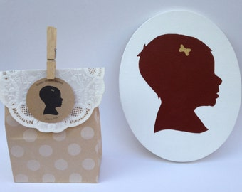 Christening and or Baptismal Custom Silhouette and gift tags