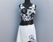 RESERVED 1970s Day Dress, Black and White Floral Knit Career Dress, 70s Polyester Knit Dress