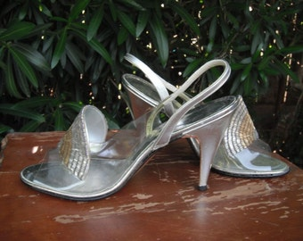 Vintage Amano Silver Beaded Strappy High Heels / Size 6.5M