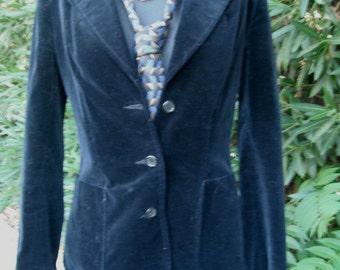 Vintage LESLIE FAY, 1970s Black Velour Blazer orJacket, Personal  Division of Leslie Fay, Academia, size 8