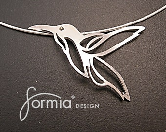 Fable Collection: whimsical hummingbird pendant handmade in sterling silver