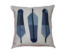"""Denim Feather Pillow / Modern Quilt Pillow / Recycled Denim Pillow /   Decorative Throw Pillow / Size 20"""" x 20"""""""