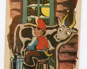 Elf milking cow vintage postcard, Artist Signed Wahp, great graphics