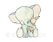 Nursery Art -- Elephant Hug  -- Archival Print