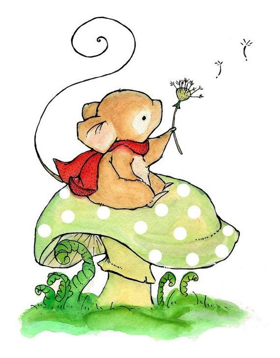 Children's Art -- Wishing Mouse -- Art Print