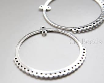 2pcs Oxidized Silver Tone Base Metal Multiple Hole Earring Findings - 54x52mm (20246Y-C-338)
