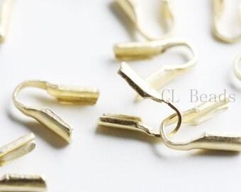 30pcs Matte 16K Gold Plated Brass Base Leather End Bead Tip - 2mm (434C-I-232)