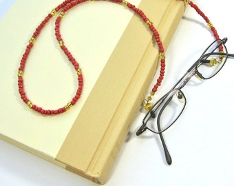 Coral and gold beaded eyeglass chain, red eyeglass lanyard, sunglass holder