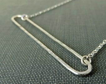 Sterling Silver Wire Bar Necklace - Hammered Open Long Rounded Bar - Simple Modern Minimal Jewelry