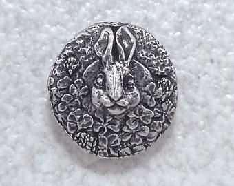 Green Girl Studios  Pewter Rabbit Button