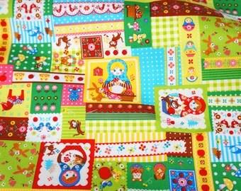 Matryoshka Russian dolls fabric nc51