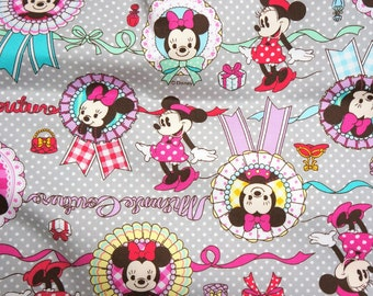 ON SALE Disney Cartoon  Minnie Couture   Print Japanese fabric 1 meter 39 by 42 inches