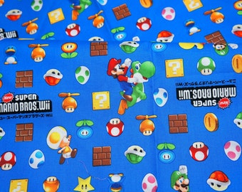 """Mario Bross Print Japanese fabric 50 cm by 50 cm or 19.6"""" by 21"""" Fat quarter"""