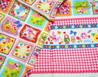 Japanese fabric with Matryoshka Sweets and Animal Print Gingham Border Half meter