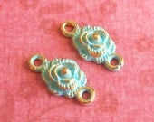 jewelry connector, tiny verdigris gold rose connector charms 4 pcs, gold metal charms