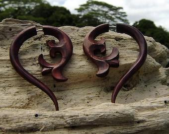 Fake gauge Wood - Organic tribal style hand made naturally fake piercings fake piercings