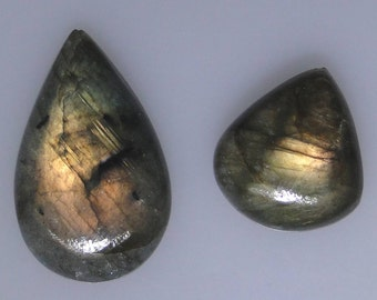 2 Labradorite pear cabs with copper and green color flash, 52.36 carats total                043-13-255