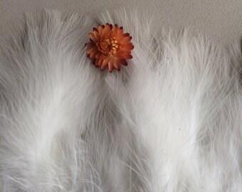 MARABOU FEATHER  Fringe / Pearl White, True White   /  M - 03