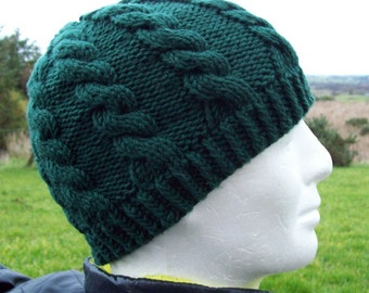 KNITTING PATTERN/INISHMORE Cable Knit Mans Beanie Cable knit Hat in 5 Sizes for Men and Women/Easy Cable Hat Pattern/ Knit Round or Straight