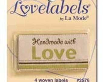 Iron on Garment Labels for Knitting and Sewing Handmade with Love by Nana Grandma - Pack of 4 labels