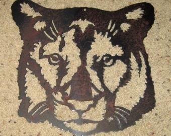 Cougar-Metal art-wildlife-safari art-mountain lion-steel art-home decor