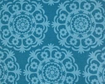 SALE - Medallion print in Shabby Chic Blue Cotton-1/2 yard