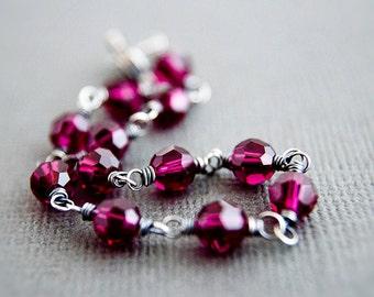 Crystal Bracelet, Sterling Bracelet, Ruby Bracelet, Ruby Red, July Birthstone, Wire Wrapped, Sterling Silver, Crimson, Dark Red, PoleStar