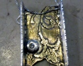 one of a kind etched brass sterling silver and diamond necklace