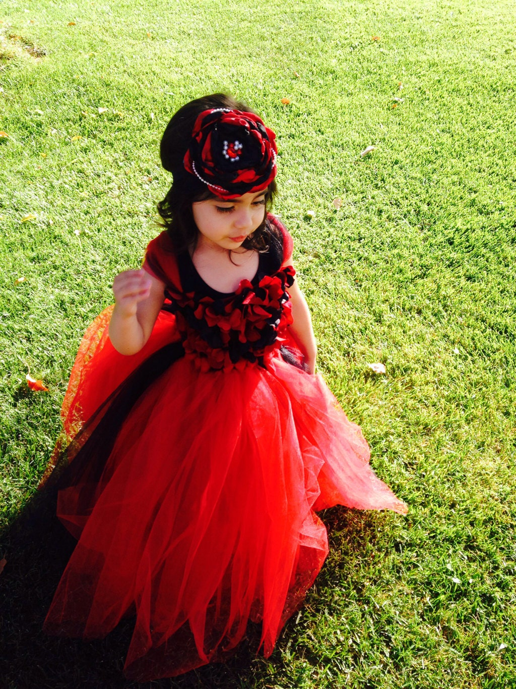 Flower girl dress Red and Black tutu dress flower top