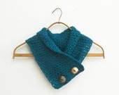 Crocheted Neck Warmer with Shell  Buttons,  Dark Teal Scarf, Vegan Scarf