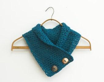Crochet Neck Warmer, Chose Color, Button Neck Warmer, Cowl Scarf, Vegan Scarf, Woman's Scarf. Crochet Scarf
