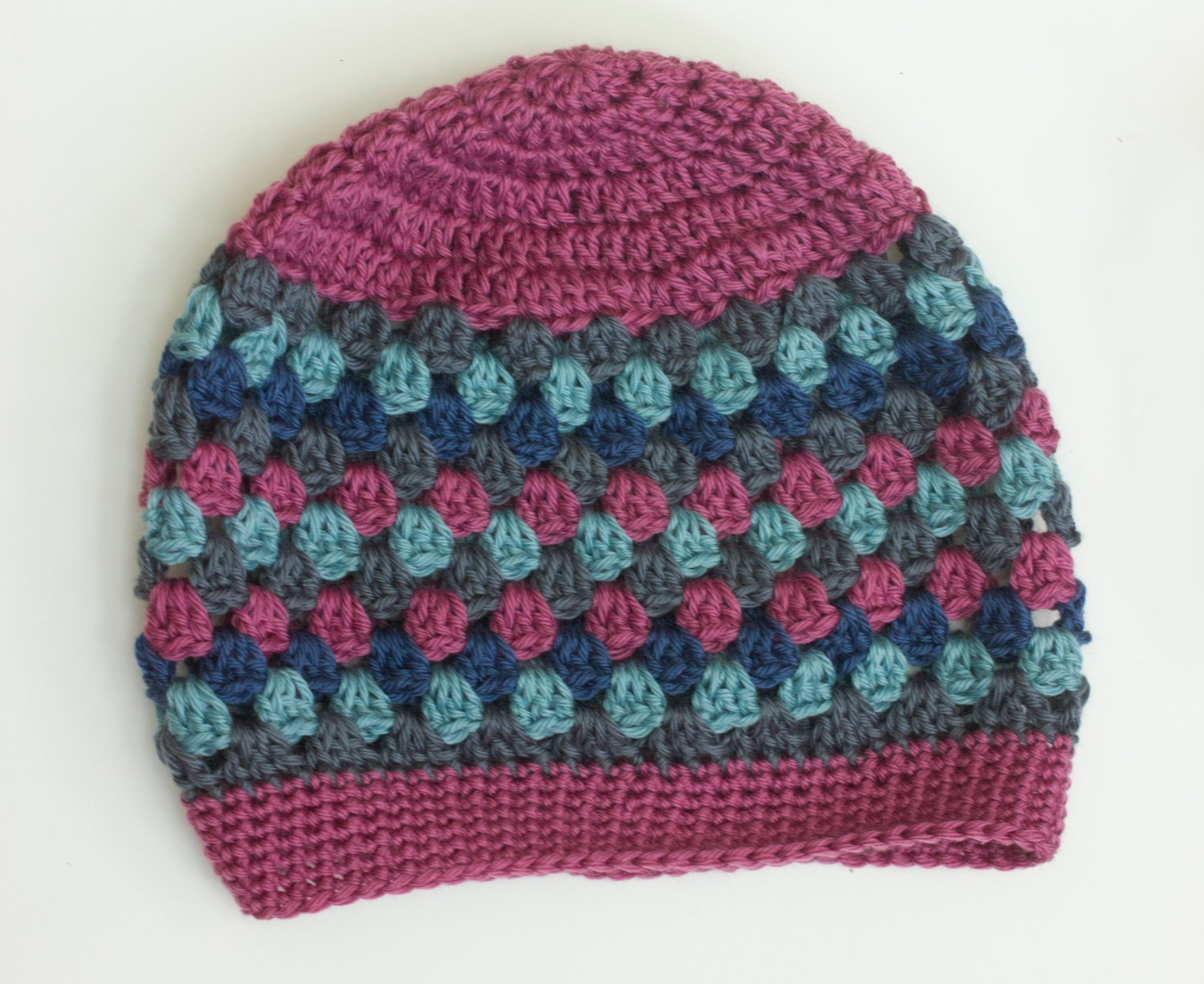 Crochet Pattern Slouchy Hat Granny Square Slouch by beadedwire