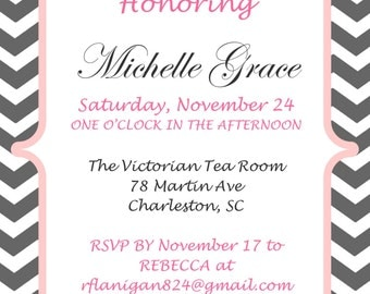 Personalized Chevron and Floral Bridal Wedding Shower Invitation DIY Digital You Print