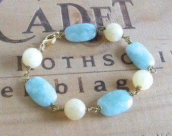 Pastel Blue and Yellow Bracelet, Amazonite and Aragonite Bracelet