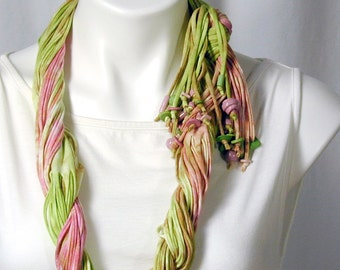 The Soba Scarf in Lime and Pink