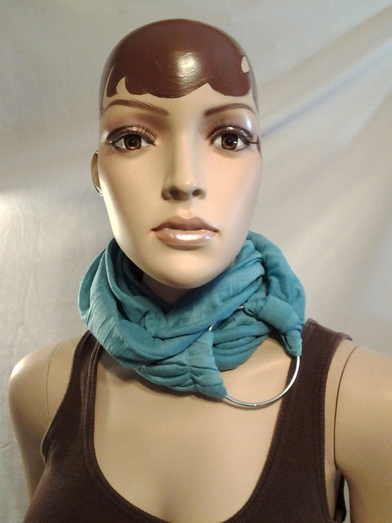 Beautiful Turquoise Necklace Fashion Cowl Scarf with Beautiful Large Silver Ring, Women Scarf, Ladies Scarf, String Scarf