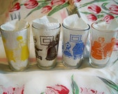 Vintage 1953 Swanky Swigs Bustling Betty Juice Glasses Kraft Cheese Spread Jars Set of 4 Yellow Brown Blue Orange