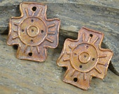 Handmade Tribal Sun Copper Coptic Cross (1 Pair)