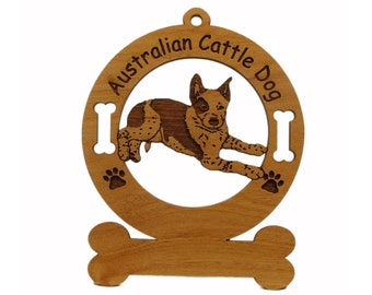 1298 Australian Cattle Dog Laying Personalized Wood Ornament