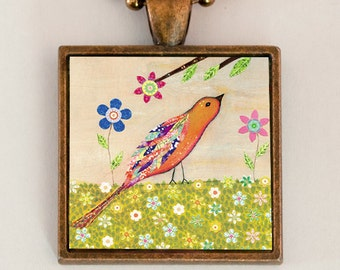 Orange Bird Necklace, Bird Pendant, Copper Bird Necklace