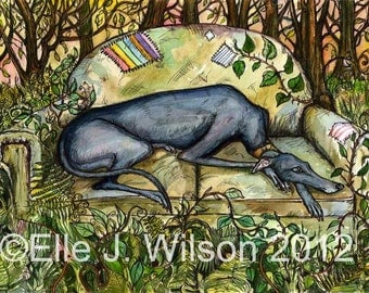 The Wild Wood - Greyhound Art Dog Print