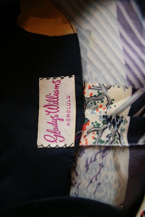 40s Hawaiian Dress Vintage 1940s Pake Muu Silk Dress Gladys