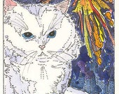 ACEO Kitty Cat Fireworks Print Red White Blue by Theodora