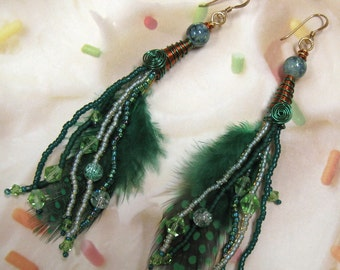 Green Feather Earrings 14kt gold ear wires Tree Agate Crystals Baubles Shoulder Dusters